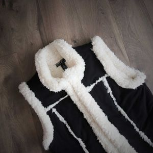 INC Faux Shearling Sheep Lined Western Vest Large